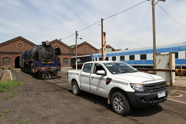 2011 Ford Ranger tows the R711 locomotive
