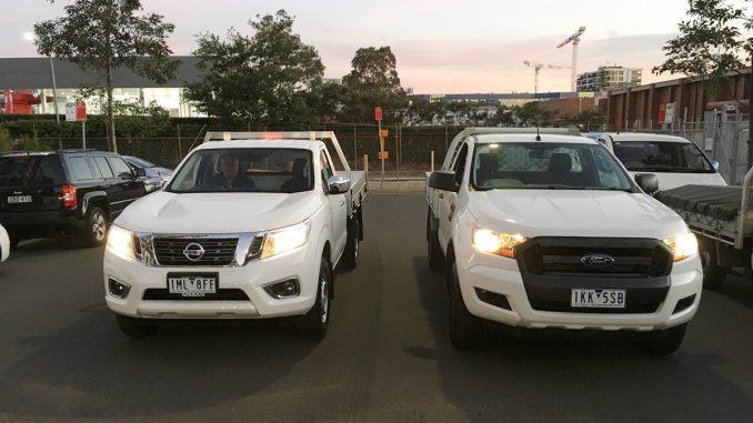 Nissan Navara RX vs Ford Ranger XL front
