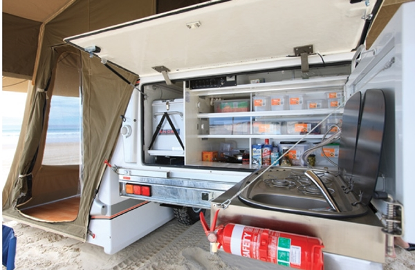 Travelander-Evron-SC2-Premium-Slide-on-Camper-rear-kitchen