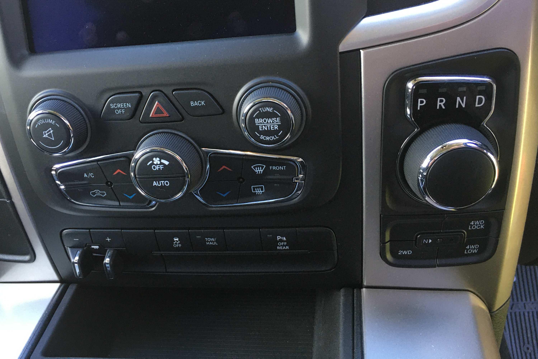 RAM 1500 Warlock 4WD selector and AC controls